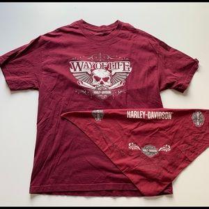vintage harley davidson t-shirt and bandana